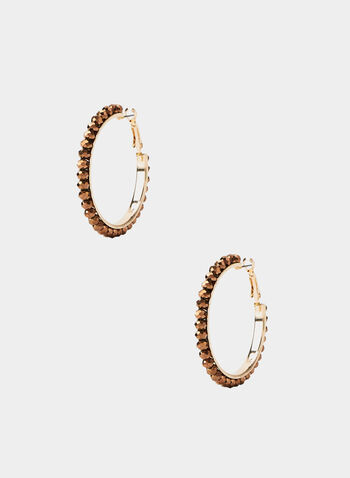 Beaded Hoop Earrings, Brown,  earrings, beaded metal, hoop, fall 2019