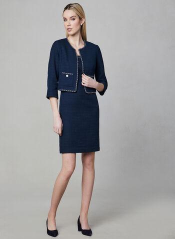 Karl Lagerfeld Paris - Blazer inspiration Chanel, Bleu, hi-res,  blazer, chanel, manches longues, perle, chaîne, printemps 2019