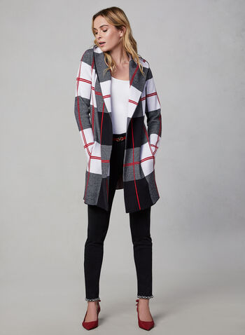 Frank Lyman - Hooded Cardigan, Black,  fall winter 2019, long sleeves, knit, plaid print