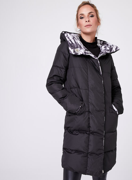 Quilted Down Filled Reversible Coat, Black, hi-res