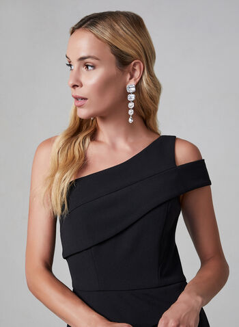 Cachet - Cold Shoulder Dress, Black,  one shoulder, peplum, godet, evening gown, flare cut, fall 2019, autumn 2019