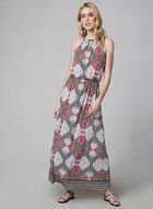 Maggy London - Abstract Print Maxi Dress, Black, hi-res