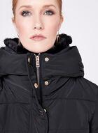 Novelti - Faux Fur Collar Quilted Down Coat, Black, hi-res