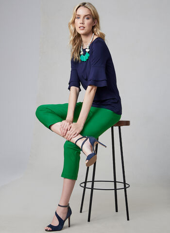 ¾ Ruffle Sleeve Top, Blue, hi-res