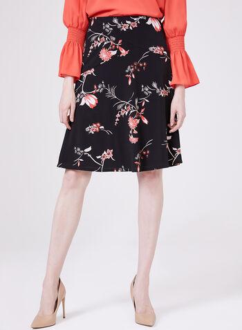 Floral Print A-Line Jersey Skirt, Black, hi-res