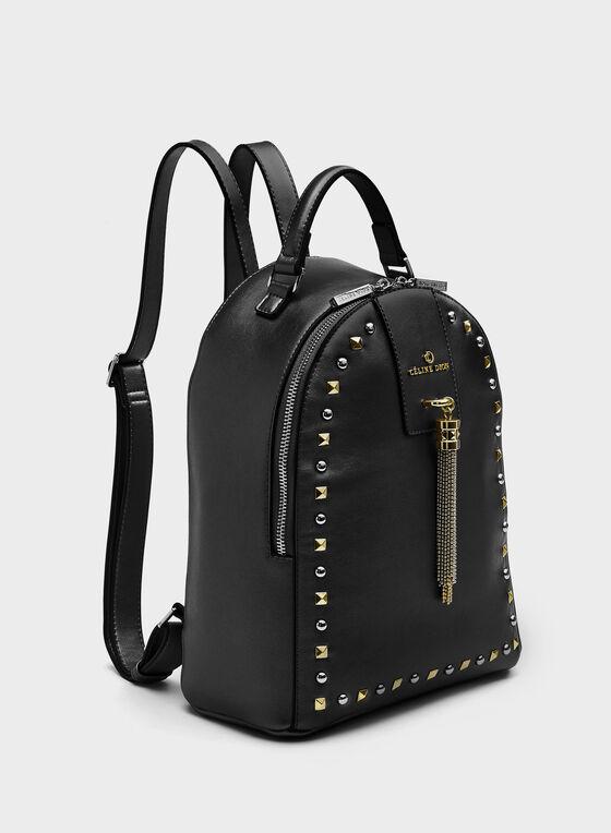 Céline Dion - Studded Faux-Leather Backpack Purse, Black, hi-res