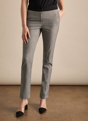 Giselle Twill Pattern Pants, Black,  pants, giselle, slim leg, high rise, ankle, pleats, twill, stretchy, spring summer 2020