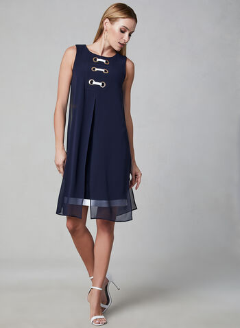 Joseph Ribkoff - Chiffon Capelet Dress, Blue, hi-res