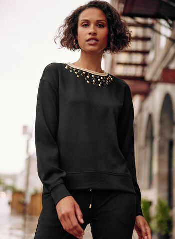 Pull en tricot épais à détails cloutés, Noir,  haut, pull, chandail, encolure ras du cou, manches longues, épaules tombantes, liséré contrastant