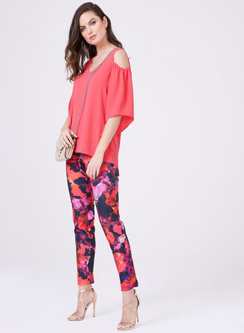 Cold Shoulder High-Low Crepe Top, Pink, hi-res