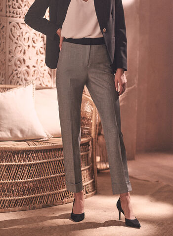 Giselle Twill Pattern Pants, Black,  pants, giselle, slim leg, high rise, ankle, pleats, twill, stretchy, spring summer 2021