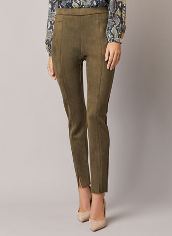 Faux Suede Pull-On Pants, Green,  pants, faux suede, slit, slim leg, pull-on, fall winter 2020