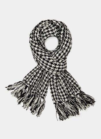 Foulard à imprimé pied-de-poule, Noir, hi-res