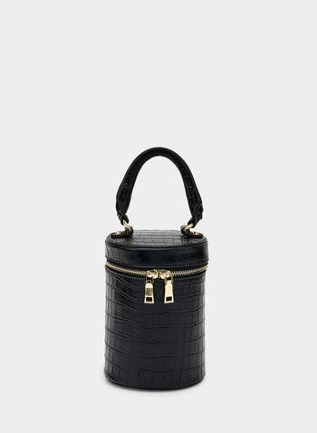 Crocodile Print Zip Around Bag, Black, hi-res,  tubular, crocodile, removable strap, fall 2019, winter 2019