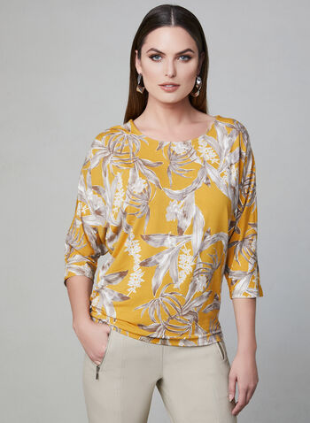 Floral Print Dolman Sleeve Top, Yellow, hi-res,  ¾ sleeves, 3/4 sleeves, boat neck, spring 2019