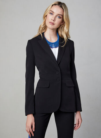 Notch Collar Blazer, Black,  long sleeves, notch collar, buttons, pockets, lined. fall 2019, winter 2019