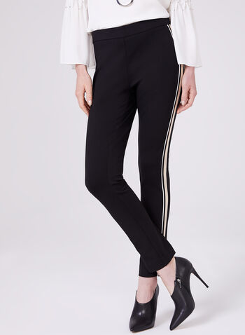 Stripe Trim Slim Leg Pants, Black, hi-res