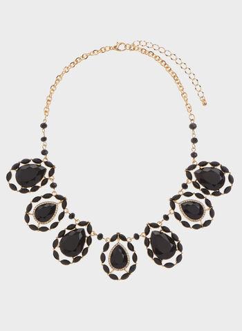 Beaded Teardrop Septet Necklace, Black, hi-res