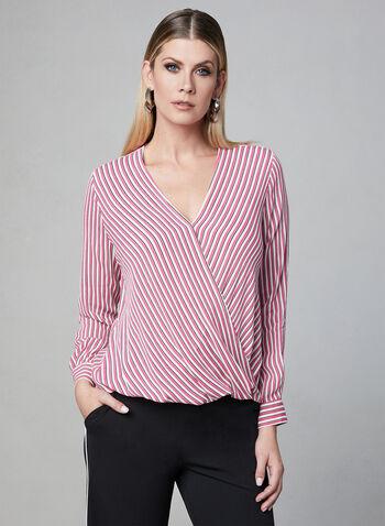 Stripe Print Crepe Blouse, Red, hi-res