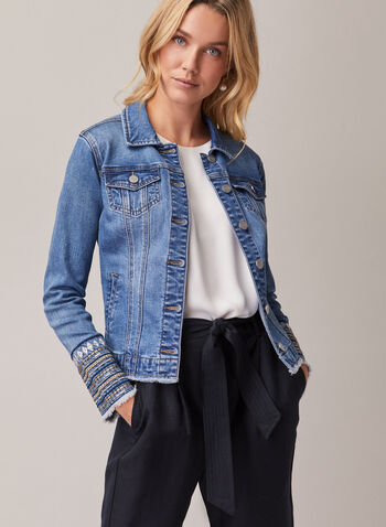 Fringe & Embroidery Denim Jacket, Blue,  jacket, long sleeves, denim, fringe, embroidery, sequins, pockets, stretchy, shirt collar, spring summer 2020