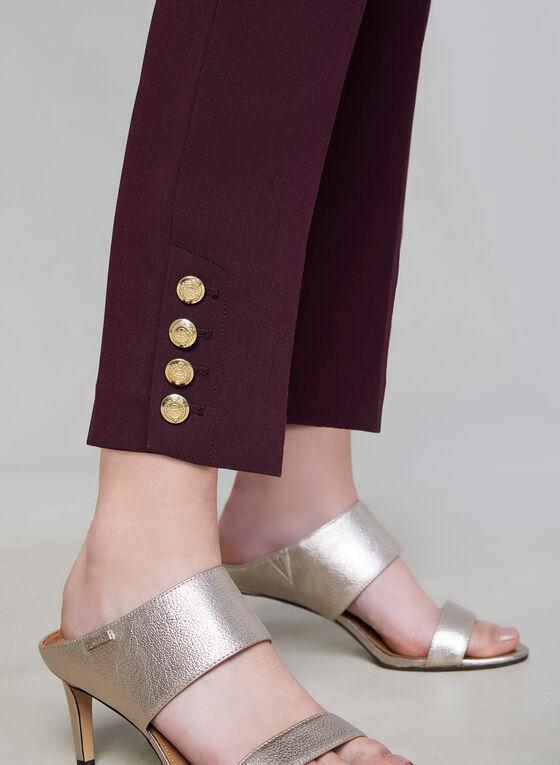 Pantalon coupe Giselle à détails de boutons dorés, Violet, hi-res