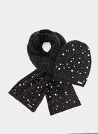Karl Lagerfeld Paris - Tuque à perles et fibres métallisées, Noir, hi-res