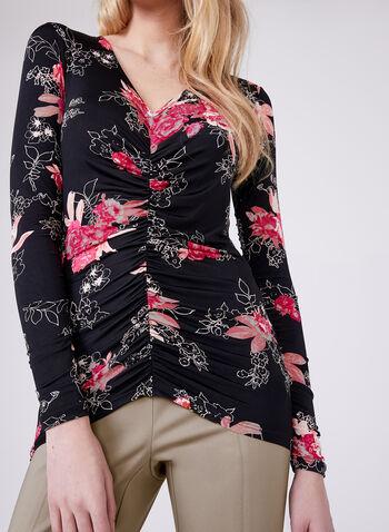 Haut fleuri en jersey à effet plissé, Multi, hi-res