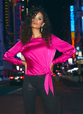 Satin Blouse With Tie, Pink,  fall winter 2020, blouse, top, tie, long sleeves, ruched, holiday