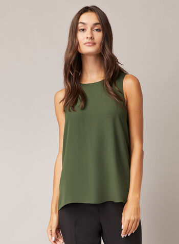 Crew Neck Sleeveless Blouse, Green,  blouse, sleeveless, crew neck, chiffon, fall winter 2020
