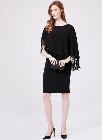 Cartise - Robe droite avec poncho à franges, Noir, hi-res