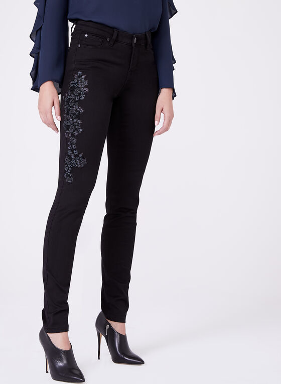Embroidered Super Soft Slim Leg Jeans, Black, hi-res
