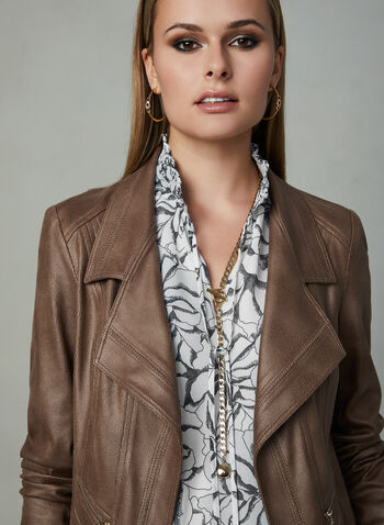 Vex - Faux Leather Jacket, Brown, hi-res