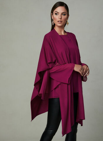 Pashmina Open Front Poncho, Pink, hi-res