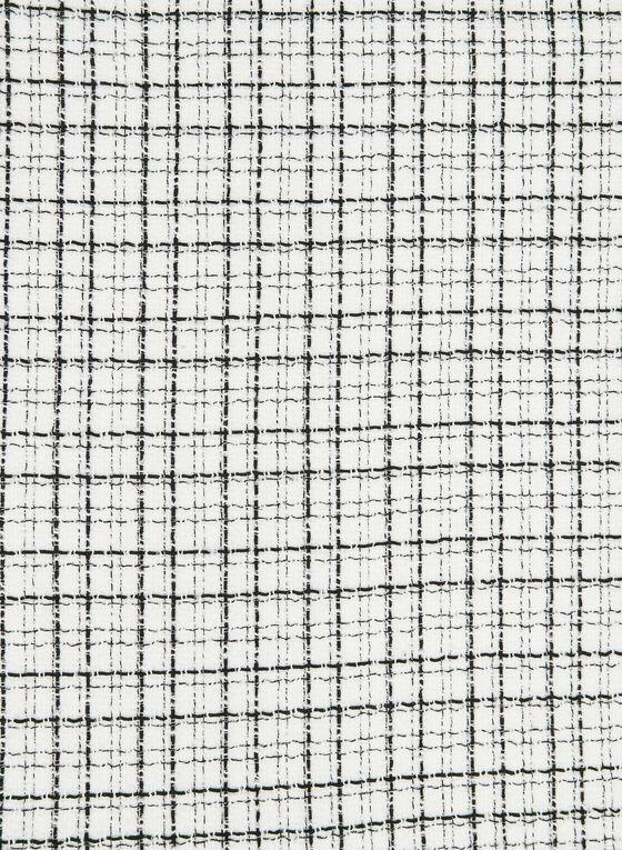 Plaid Print Scarf, White