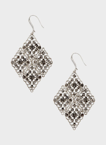 Crystal Filigree Hook Earrings, Grey, hi-res