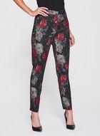 Pantalon cheville à fleurs, Noir, hi-res
