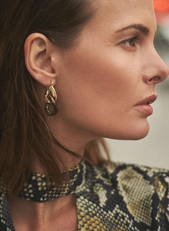 Chain Link Dangle Earrings, Brown