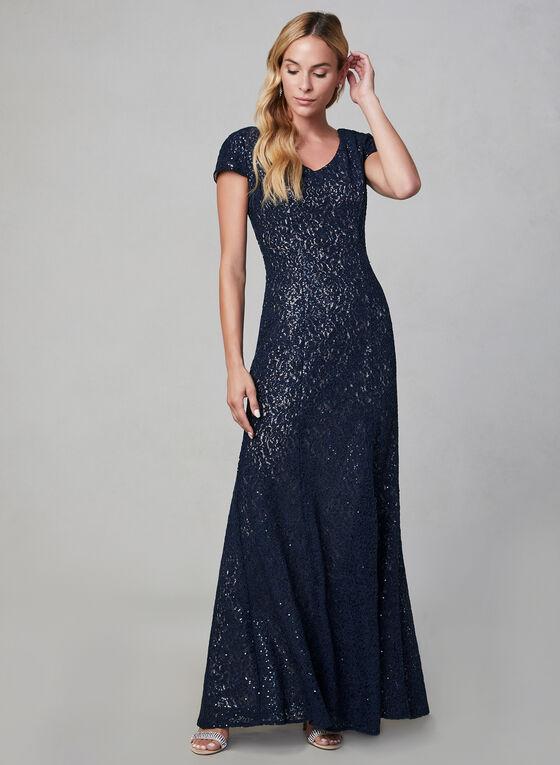 Alex Evenings - Robe longue pailletée , Bleu