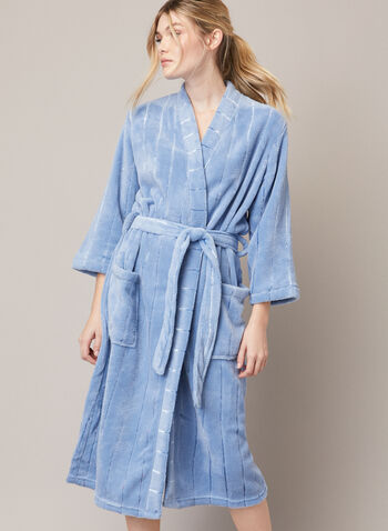 Striped Fleece Robe , Blue,  fall winter 2020, robe, fleece, pockets, belt, sleepwear