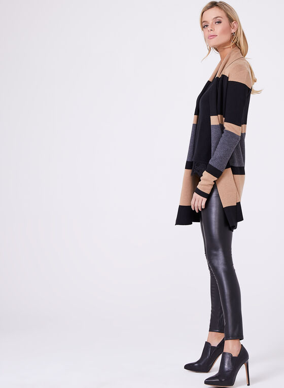 Scalloped Lace Trim Sweater, Black, hi-res