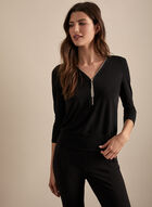 3/4 Sleeve Zipper Collar Top, Black