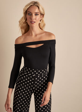 Off-the-Shoulder Top, Black,  top, cutout, off the shoulder, stretchy, 3/4 sleeves, jersey, spring summer 2020