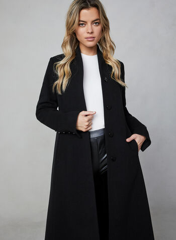 Mallia - Wool & Cashmere Coat, Black,  wool, cashmere, made in canada, long sleeves, pockets, button closure, Mallia, fall 2019, winter 2019