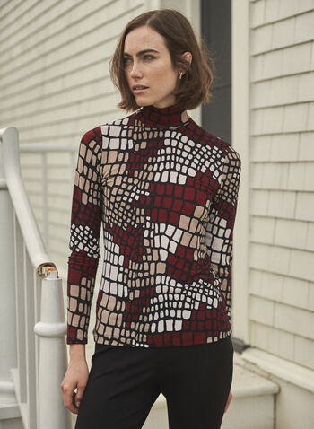 Geometric Print Turtleneck Top, Red,  made in Canada, top, turtleneck, geometric print, long sleeves, fitted, fall winter 2021