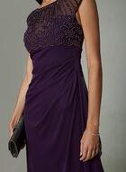 BA Nites - Robe empire à corsage perlé et effet drapé, Violet, hi-res