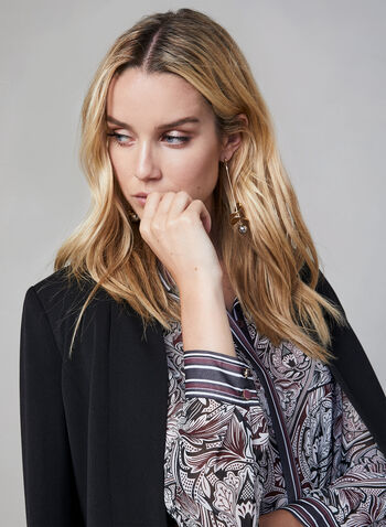 Mixed Print Chiffon Tunic, Purple, hi-res,  transparent, long sleeves, button down, fall 2019, winter 2019