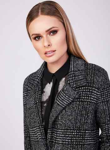 Plaid Print Sweater Jacket, Black, hi-res