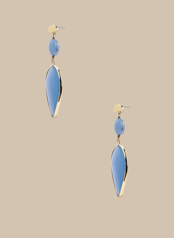 Stone Dangle Earrings, Blue,  earrings, stones, rhinestones, dangle earrings, spring 2020, summer 2020