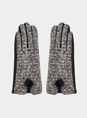 Tweed Gloves, Black, hi-res,  gloves, tweed gloves, tweed, pompom, fall 2019, winter 2019