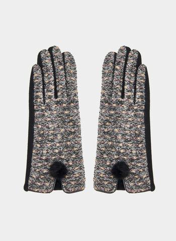 Tweed Gloves, Black,  gloves, tweed gloves, tweed, pompom, fall 2019, winter 2019